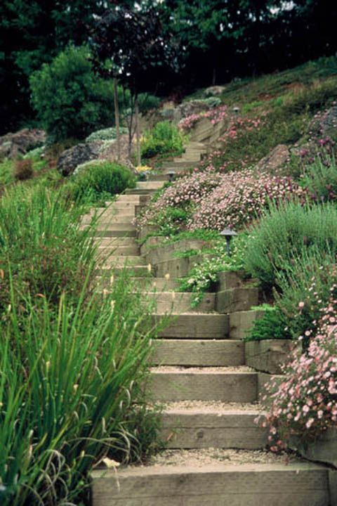 Railroad ties for steps hillside landscaping pinterest for Hillside landscaping