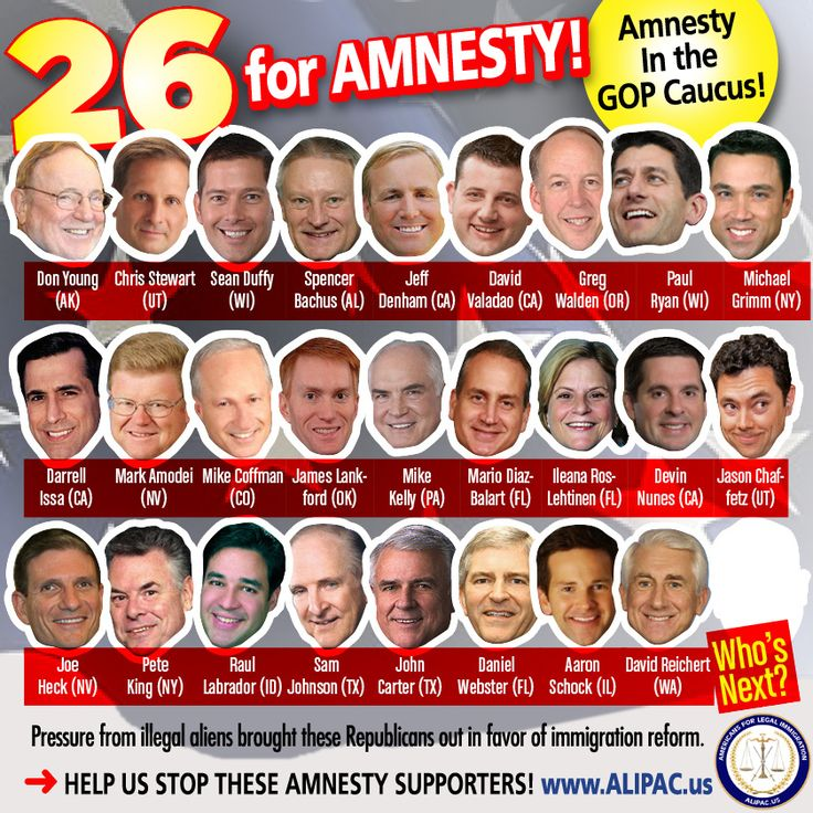 26 GOP Members of Congress trying to help Obama pass a nation shattering illegal alien amnesty have been identified!  Please call these traitors with the info at this link and share this list and graphic!  List of 26 GOP Traitors In Congress Supporting Illegal Alien Amnesty  http://www.alipac.us/f8/list-26-gop-traitors-congress-supporting-illegal-alien-amnesty-287816/