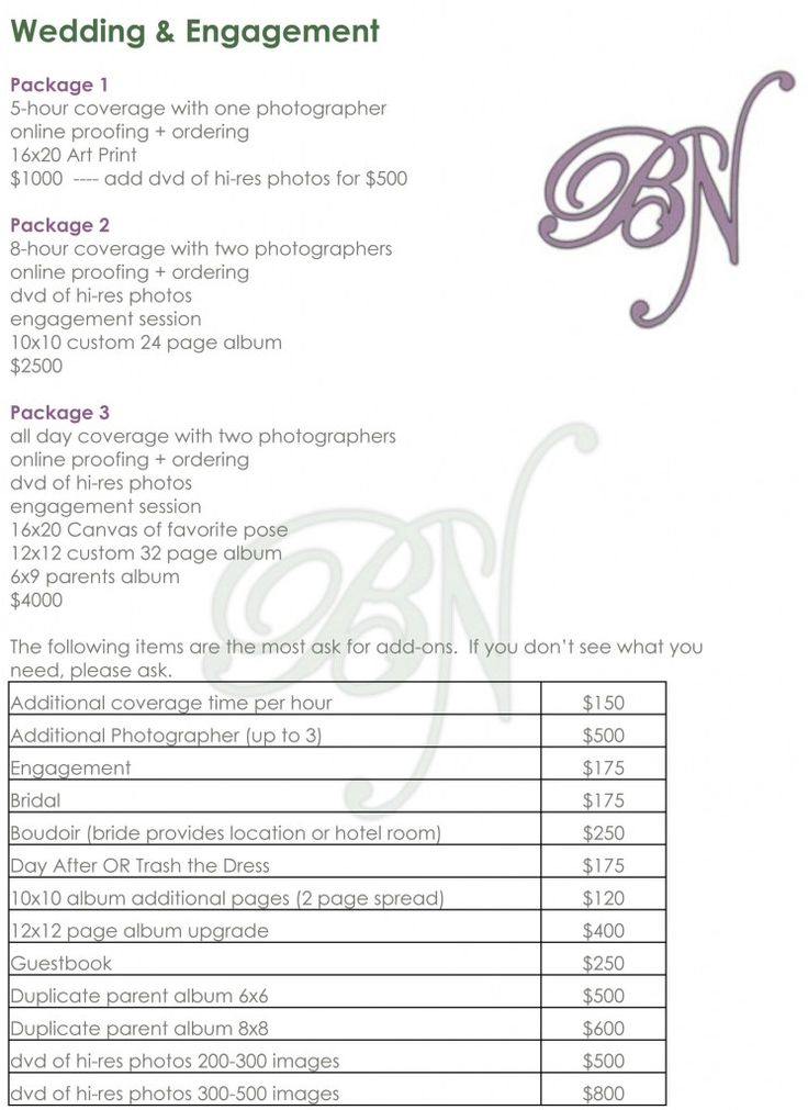 photography price list template .