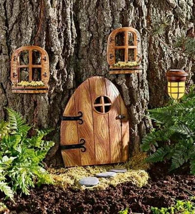 Fairy door on the side of a tree fairy garden pinterest for Fairy doors for trees