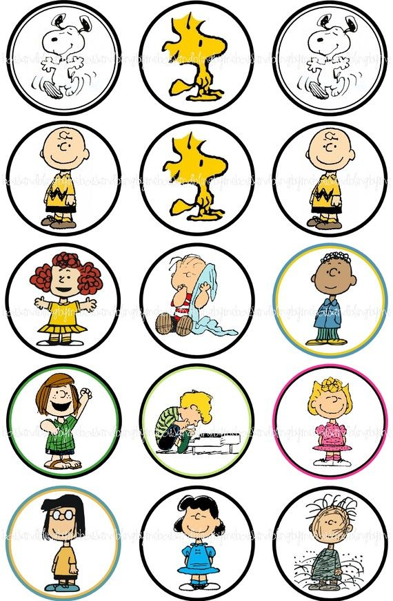 Peanuts inspired characters bottlecap images