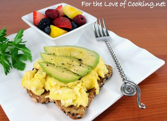 Fluffy Scrambled Eggs And Avocado Slices On Toast Recipe — Dishmaps