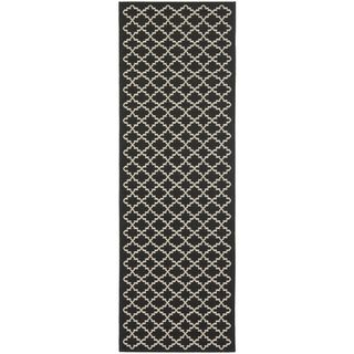 Safavieh Indoor/ Outdoor Courtyard Black/ Beige Rug (2'4 x 12')