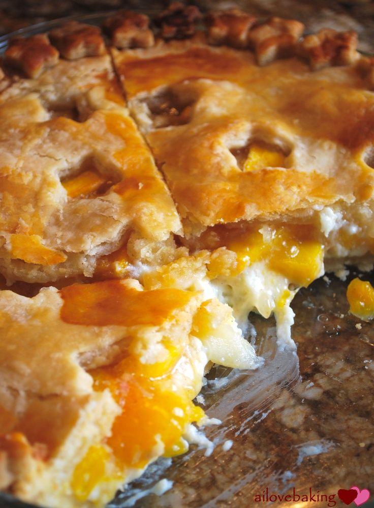Peach Cream Cheese Pie...so delicious!! Serve with vanilla bean ice ...