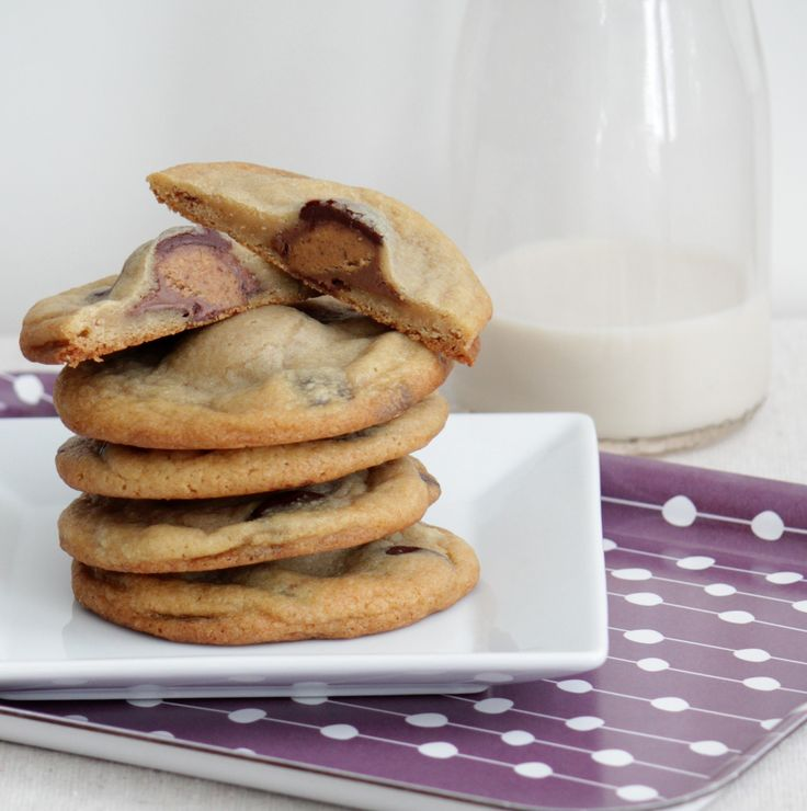Reese's Cup Stuffed Chocolate Chip Cookies
