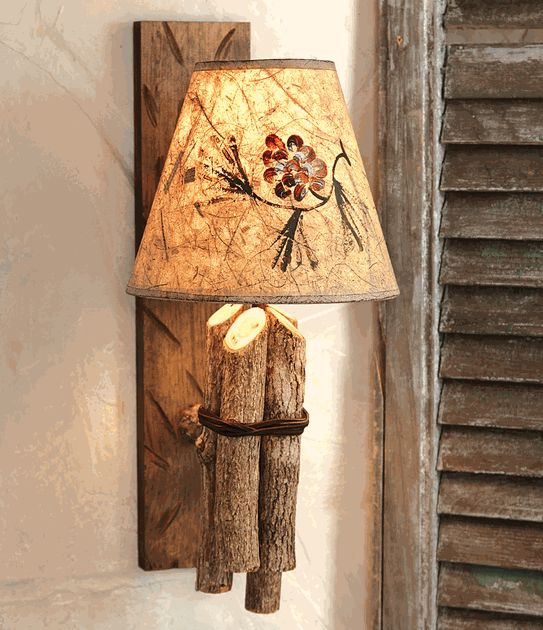 Twig wall lamp w pinecone shade a prim log cabin diy for Diy wall lamp shade