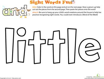 Up Sight Worksheets: worksheets Spruce sight word spruce Word:  up Little the the