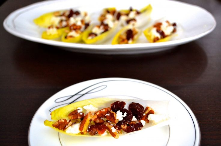 Cherry and Pecan Stuffed Endive with Champagne Vinaigrette