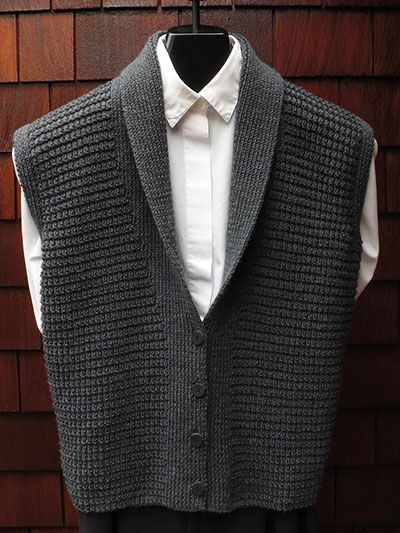 Knitting Pattern For Shawl Collar Vest : Classic Shawl Collar Vest Knit Pattern knitting Pinterest