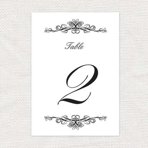 ... black and white table numbers printable by idoityourself, $10.00
