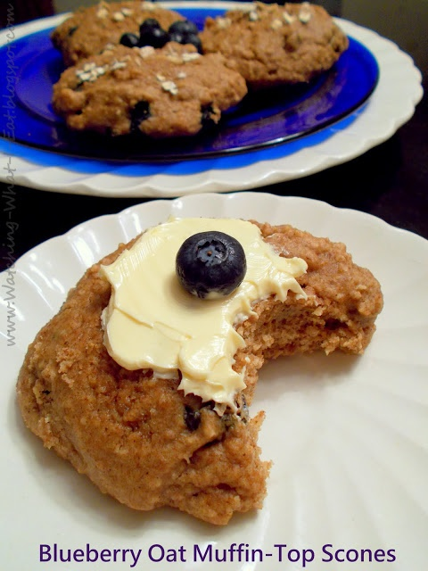 ... : Blueberry Oat Muffin-Top Scones ~ a perfect low-fat teatime treat