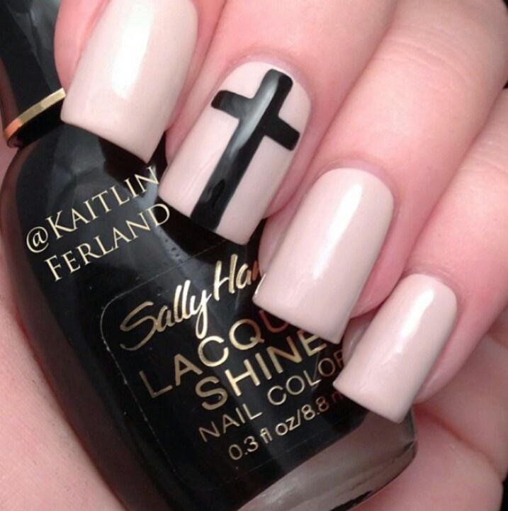 Nail Art Black Cross : Black cross nail art