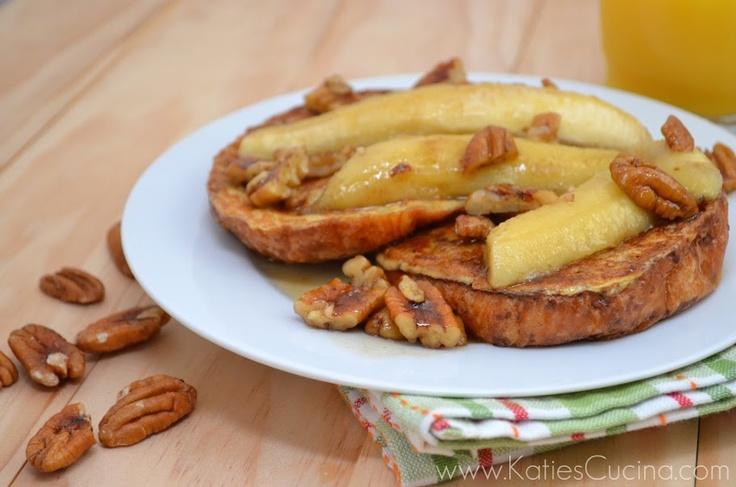 Croissant French Toast w/ Caramelized Bananas & Walnuts | Recipe