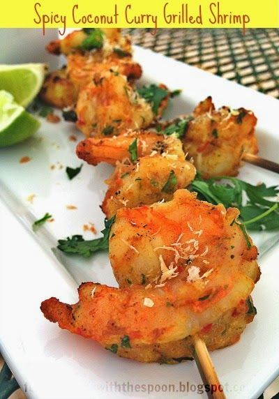 Spicy Coconut Curry Grilled Shrimp. | Healthy Eating | Pinterest