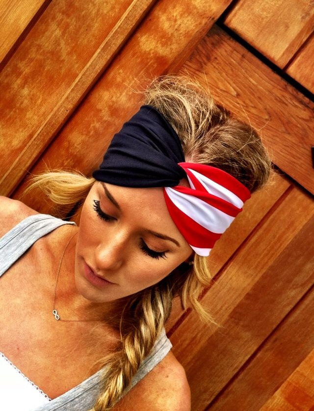 American Flag Twisted Turban Headband Red White and Blue Stripe Stretchy Head bands Hair Coverings Summer Olympics 2012. $22.50, via Etsy.