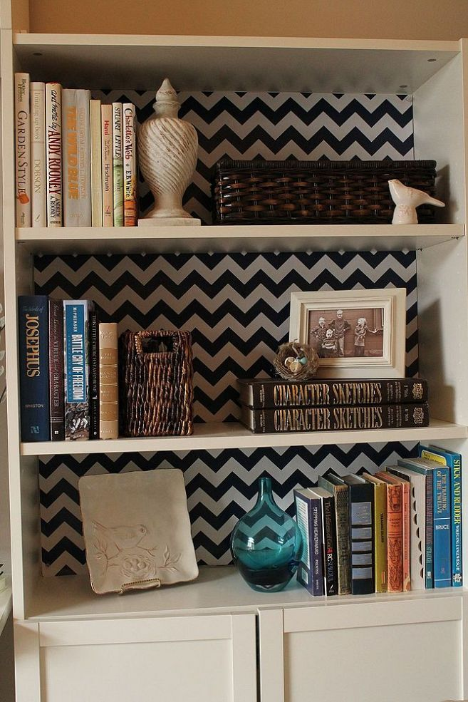 Bookcase updates with wrapping paper