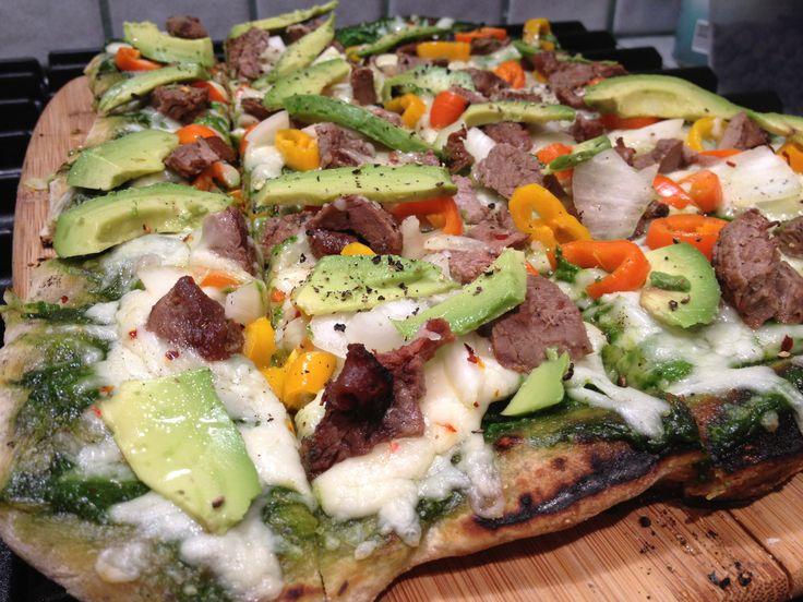 Mexican Grilled Flatbread Pizza with Cilantro Pesto