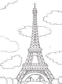 Рисунок акварелью эйфелева башня