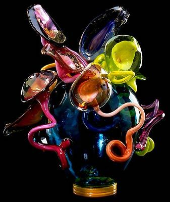 """DALE CHIHULY  TRANSPARENT GREEN   VENETIAN, 1990  24 X 21 X 20"""""""