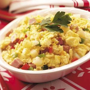 ... egg scramble is warm and hearty, with potatoes, ham, cheese and sweet