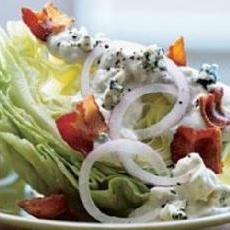 Iceberg Wedge with Warm Bacon and Blue Cheese Dressing