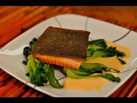 Recipe for Pan Seared Salmon with Crispy Skin on Baby Bok Choy with ...