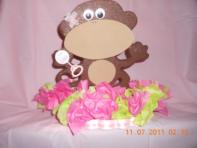 monkey girl baby shower centerpiece at