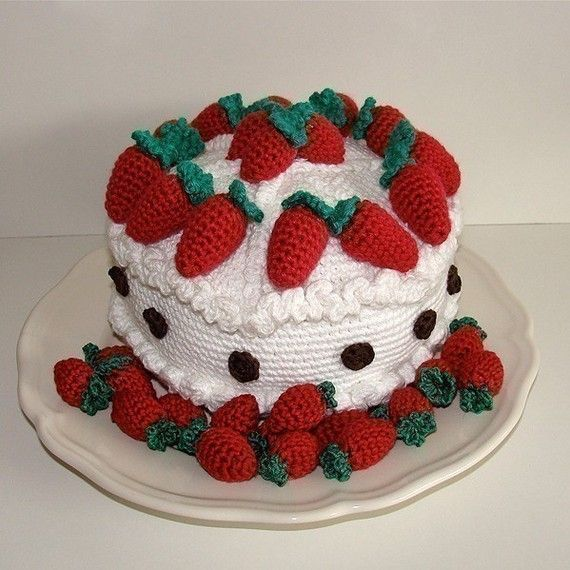Strawberry Cake Images Free Download : Instant Download - PDF Crochet Pattern - Strawberry Cake ...