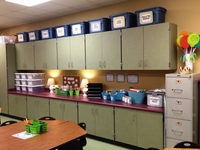 Classroom Cabinet Design : Labeled totes over cabinets my classroom pinterest