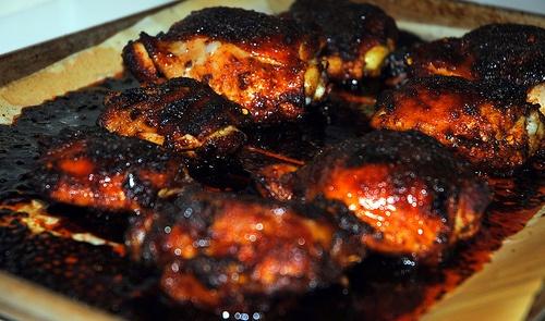 Spicy Honey-Brushed Chicken Thighs | My Blog! | Pinterest
