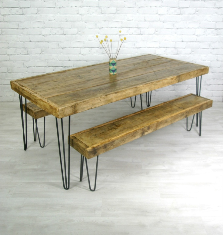 Hairpin legs vintage industrial rustic mid century farm for Vintage hairpin table legs