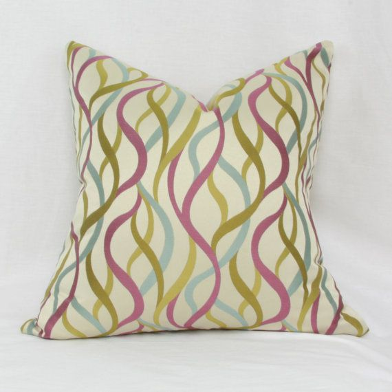 Purple Green Throw Pillow : Purple, green, blue abstract decorative throw pillow cover. 20