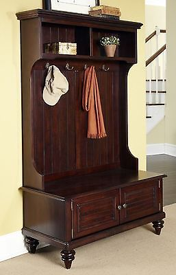 Full Hall Tree Brown Entryway Coat Rack Stand Home Furniture Decor St…