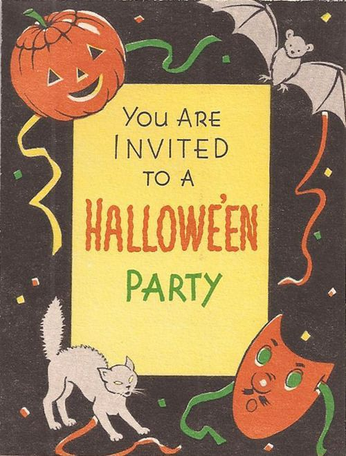 Vintage halloween party invitation halloween pinterest for Vintage halloween party invitations