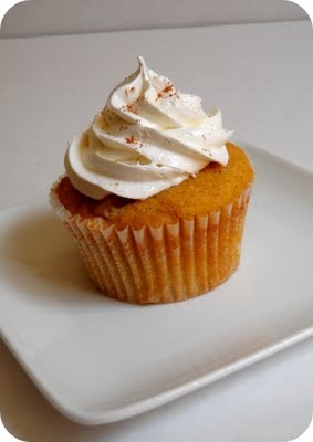 Sweet potato cupcake with maple cream cheese frosting.