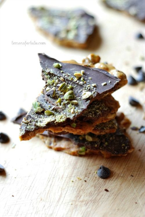 Pistachios and cardamom combine in this chocolate covered brittle. www ...