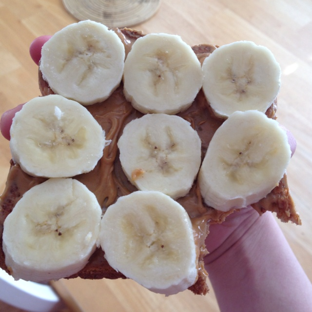 Toasted whole wheat bread, organic peanut butter and half a banana ...