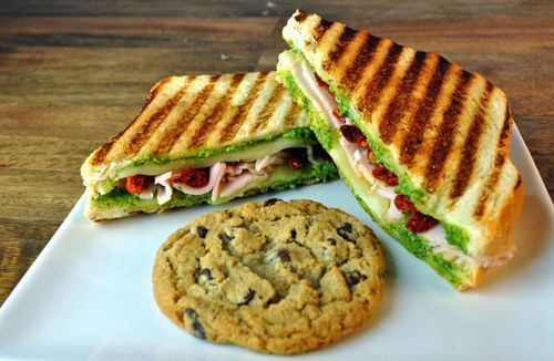 Turkey Pesto Panini with provelone cheese sun-dried tomatoes grilled ...