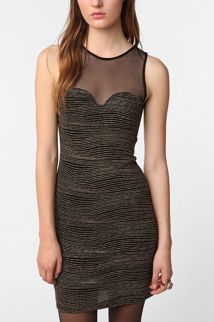 Sparkle & Fade Mesh Metallic Dress