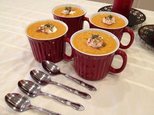 Soup. Sweet and savory, made with roasted butternut squash, apples ...