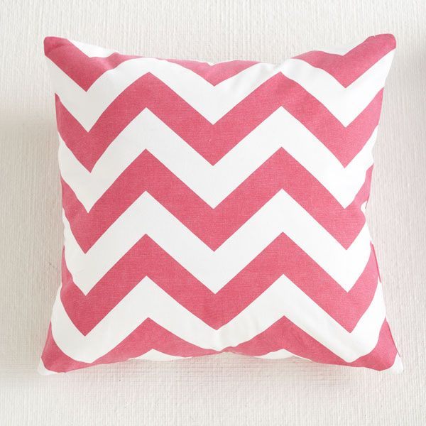 Chevron hot pink graphic pillows are the simplest way to update a