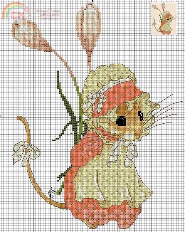 вышивка мышки и хомячки