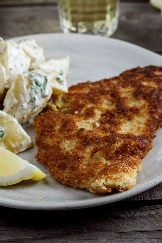 Pork schnitzel with warm potato salad | Recipe