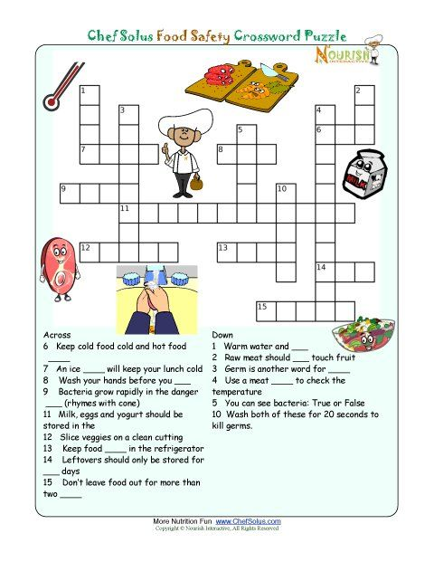 ... great activity for little kids -- Printable Nutrition Crossword Puzzle
