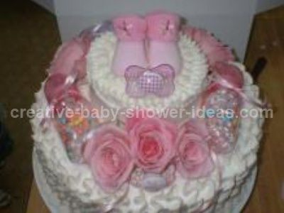 pink booties baby flower cake baby shower ideas pinterest