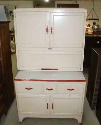 Antique vintage sellers kitchen cabinet white with red for Antique red kitchen cabinets