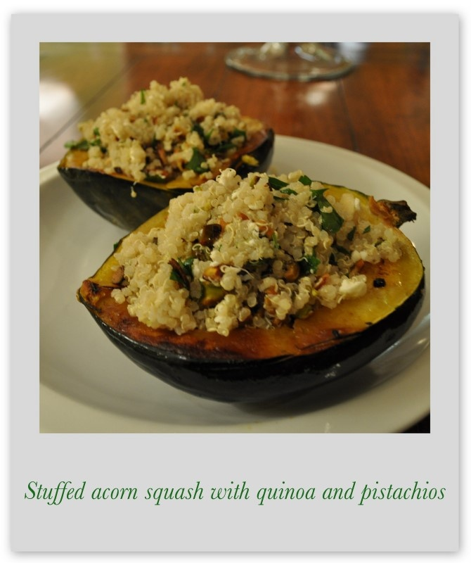 Marin Mama Cooks: Stuffed Acorn Squash with Quinoa and Pistachios
