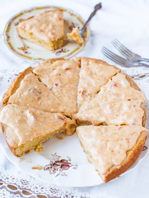 French Almond Cookie Cake with Apricot Cream Cheese Glaze. The French ...