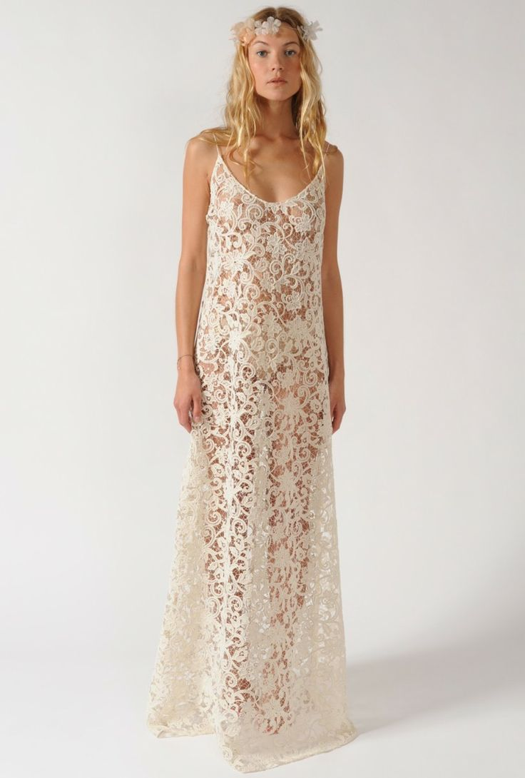 Beach wedding white lace maxi dress fashion pinterest for Lace maxi wedding dress