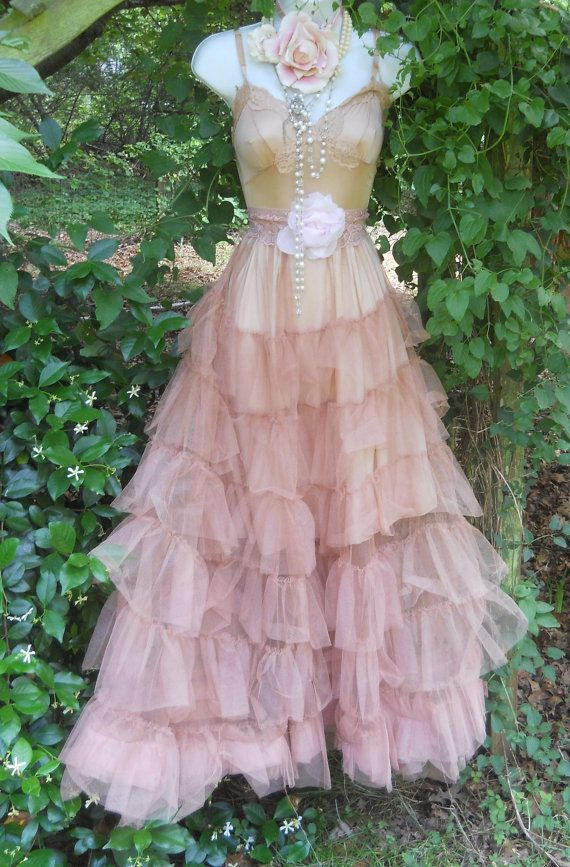 Ruffle tulle dress tea stained wedding crinoline vintage for Vintage rose wedding dress